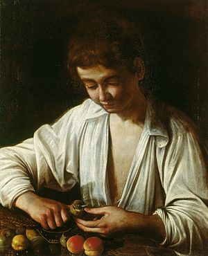 Chronology of works by Caravaggio - Image: Caravaggio A boy peeling fruit (Royal Collection)