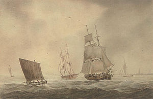 Joseph Cartwright (artist) - Trading Brigs and other shipping in the Channel (1819)