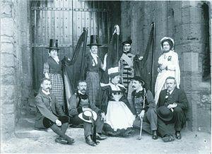 Celts (modern) - Delegates at the Pan-Celtic Congress, Caernarfon, 1904. Back row: Maggie Jones (harpist of Arfon); Mrs Gruffydd Richards (chief harpist of Gwent), David Roberts (blind harpist of Mawddwy), Gwyneth Vaughan. Front row: Pedwr James, Émile Hamonic, Léna Botrel, Théodore Botrel, Professor Paul Barbier