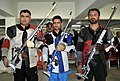 Chain Singh (INDIA) won Gold Medal, Gagan Narang (INDIA) won Silver Medal and Siddique Umar (PAKISTAN) won Bronze Medal in the 50m Rifle Prone Men's Individual, at the 12th South Asian Games-2016, in Guwahati.jpg