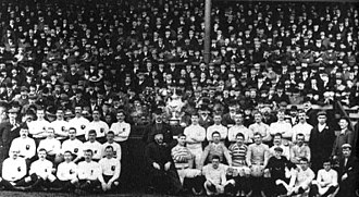 History of rugby league - The first ever Challenge Cup Final, 1897: Batley (left) vs St Helens (right)