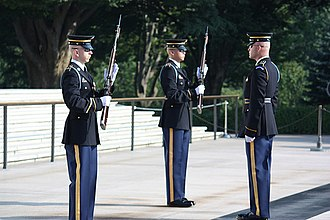 Infantry blue cord - Sentinels of the 3rd U.S. Infantry Regiment (The Old Guard) during Changing of the Guard ceremony at the Tomb of the Unknown Soldier in Arlington National Cemetery
