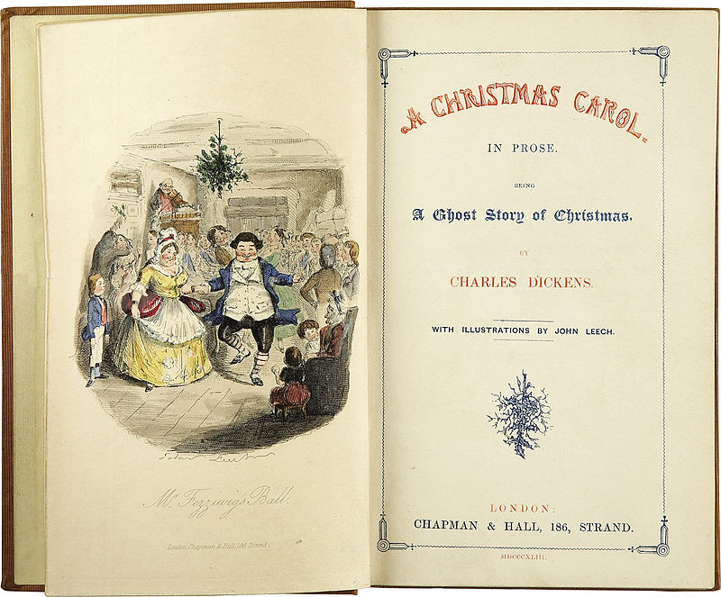 Left-hand page shows Mr and Mrs Fezziwig dancing the right-hand page shows the words A Christmas Carol In Prose Being a Ghost Story of Christmas by Charles Dickens With illustrations by John Leech