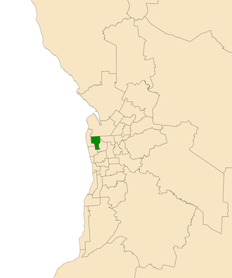 Electoral district of Cheltenham - Electoral district of Cheltenham (green) in the Greater Adelaide area
