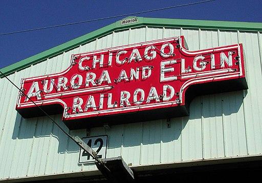 Chicago Aurora and Elgin Railroad sign