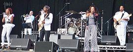 Chic performing at GuilFest 2012 (left to right: Davis, Rodgers, Folami, Barnes)