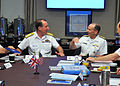 Chief of U.S. Naval Operations Adm. Jonathan Greenert, right, speaks with British Royal Navy First Sea Lord Adm. Sir George Zambellas during a meeting at the National Defense University in Washington, D.C 130606-N-ZI511-234.jpg