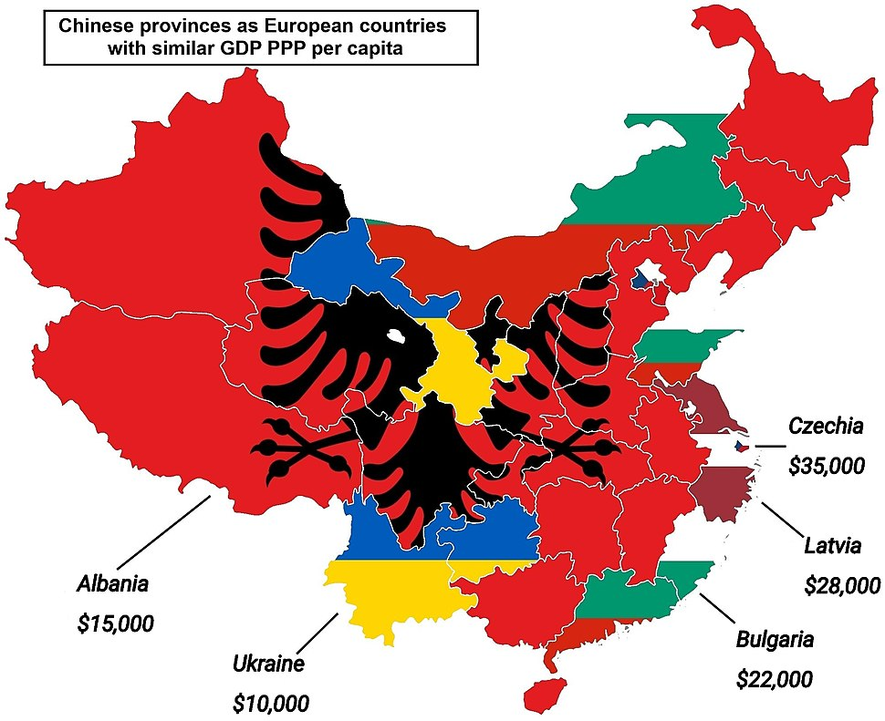 Chinese provinces as European countries with similar GDP PPP per capita