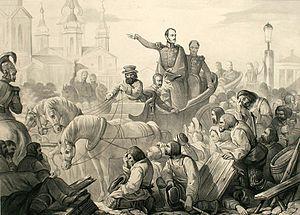 Cholera Riots - Nicholas I of Russia quelling a riot on the Sennaya Square