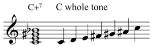 Augmented seventh chord - Image: Chord scale C+7 and C whole tone