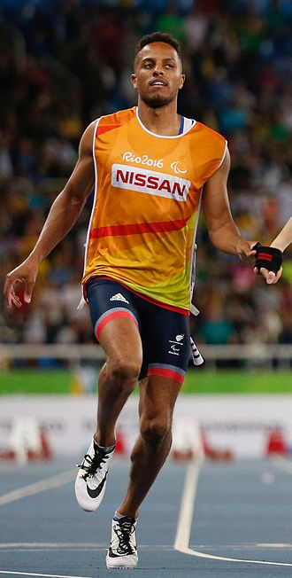 Chris Clarke (sprinter) - Clarke running 100m as a guide for Libby Clegg at the 2016 Paralympics