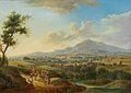 Christian Georg Schütz d.Ä. - Eine hügelige Flusslandschaft mit Marktfahrern und Anglern.jpg