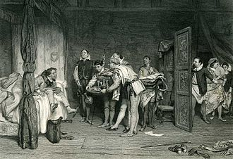 William Quiller Orchardson's illustration of Sly and the Lord, engraved by Charles William Sharpe; from the Imperial Edition of The Works of Shakespere, edited by Charles Knight (1876). Christopher Sly (Orchardson).jpg