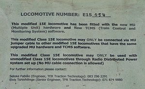 South African Class 15E - Notice on front door of modified unit no. 15-054, 5 October 2015