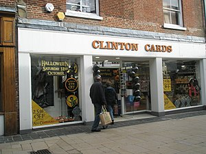 English: Clinton Cards in Winchester High Street