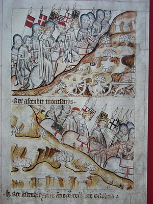 Henry VII, Holy Roman Emperor - Henry VII and the Imperial army crossing the Alps into Italy