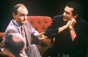 Bruce Oldfield - Oldfield (right) appearing on TV series After Dark in 1988