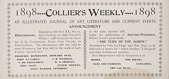 Collier's - Publisher's advertisement in Collier's Weekly (January 6, 1898) announces new features including an increase in pages, more illustrations, new departments, and the beginning of Henry James' novella The Turn of the Screw