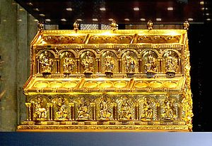 Saint Caspar - The relics of the Magi kept in the Shrine of the Three Kings in Cologne Cathedral, Germany.
