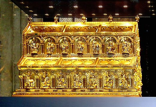 The Shrine of the Three Kings in Cologne Cathedral, Germany, c. 1200. Cologne Cathedral Shrine of Magi.jpg