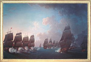 Battle of Martinique (1780) - Image: Combat de la Dominique 17 Avril 1780 Rossel de Cercy 1736 1804