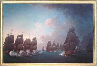 Battle of Martinique (1780) - Image: Combat de la Dominique 17 Avril 1780 Rossel de Cercy 1736 1804