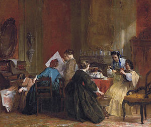Stereoscopy - A company of ladies looking at stereoscopic views, painting by Jacob Spoel, before 1868. An early depiction of people using a stereoscope.
