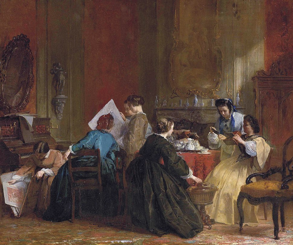 Company of ladies watching stereoscopic photographs by Jacob Spoel 1820-1868