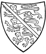 Fig. 703.—Henry of Lancaster, 1295-1324 (brother of preceding, before he succeeded his brother as Earl of Lancaster): England with a bend azure. (From his seal, 1301.) After 1324 he bore England with a label as his brother.