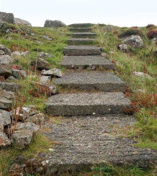 Concrete steps near the summit of Carn Llidi - geograph.org.uk - 1529893