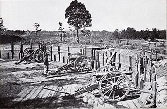 Atlanta in the American Civil War - Confederate sappers constructed a number of artillery emplacements covering the avenues of approach to Atlanta. The artillery in this fortification overlooks Peachtree Street.