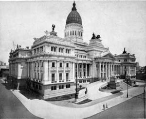 Congressional Plaza - The motivation for the plaza, the Argentine Congress, shortly after its 1906 inaugural.