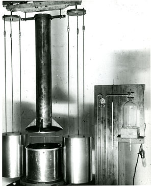 Torsion spring - Torsion balance used by Paul R. Heyl in his measurements of the gravitational constant G at the U.S. National Bureau of Standards (now NIST) between 1930 and 1942.