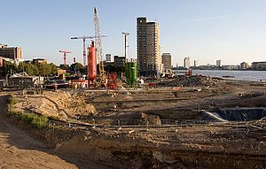 Riverside South (Canary Wharf) - Ground work under way, September 2007