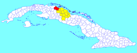 Corralillo municipality (red) within  Villa Clara Province (yellow) and Cuba