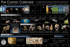 Cosmic Calendar - A graphical view of the Cosmic Calendar for presentations, featuring the months of the year, days of December, and the final minute.