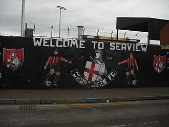 Seaview (football ground) - Club mural on the corner of St Vincent Street