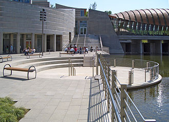 Crystal Bridges Museum of American Art - Walker Landing plaza between galleries