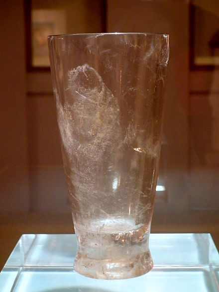A drinking cup carved from crystal, unearthed at Banshan, Hangzhou, Warring States period, Hangzhou Museum. Crystal Cup(Warring States Period) in Hangzhou Museum.JPG