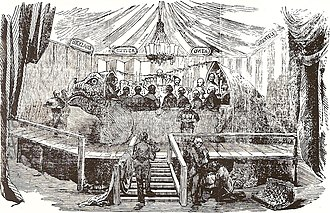Crystal Palace Dinosaurs - The famous banquet in the mould of the Crystal Palace Iguanodon, New Year's Eve, 1853