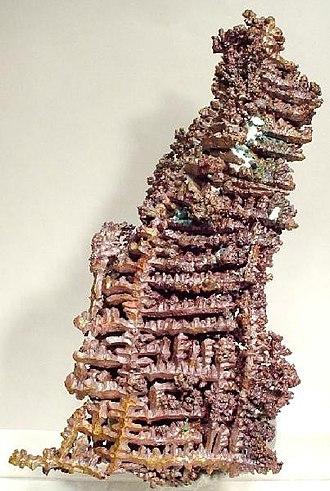 Copper Range Company - Cuprite on dendritic native copper, Champion Mine. Size 6.6 x 3.8 x 3.2 cm.