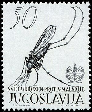 Božidar Jakac - The 1962 Yugoslav stamp, designed by Jakac, to advertise the World Health Organization's campaign against malaria