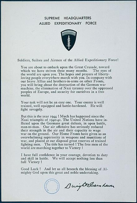 Le istruzioni dello SHAEF per il D-Day alle forze armate alleate