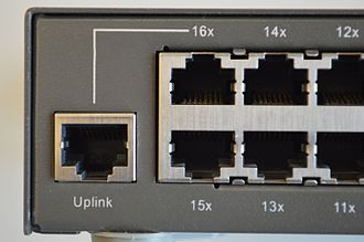 "Medium-dependent interface - Switch showing 16x port in both MDI-X and MDI ""Uplink"" pinout"