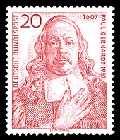 Briefmarke (1957) zum 350. Geburtstag (Quelle: Wikimedia)