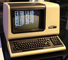 A very early DEC terminal with keyboard and integral black and white screen