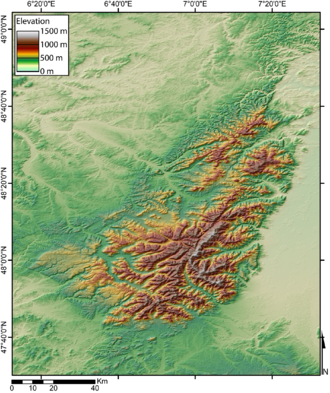 Vosges - Relief map of Vosges Mountains