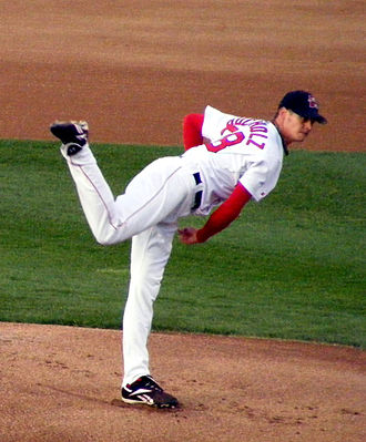 Clay Buchholz - Buchholz pitching for the Portland Sea Dogs, Double-A affiliates of the Boston Red Sox on August 25, 2008.