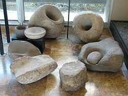 Dagon Museum, Mortars from Natufian Culture, Grinding stones from Neolithic pre-pottery phase.JPG