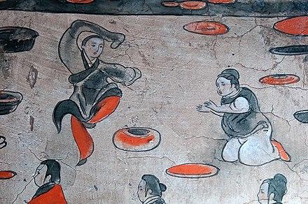 東漢王朝のダンサーの描写、打虎亭漢墓壁画
